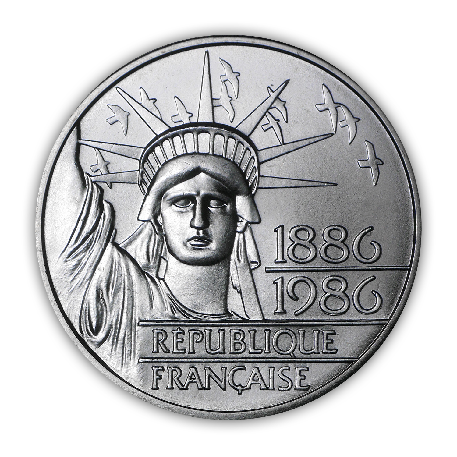 1986 Statue of Liberty 100 Franc Silver Piedfort