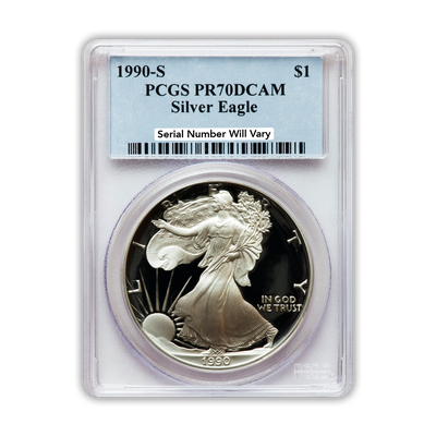 1990 Silver Eagle - Proof - PCGS PR70 - CoinsTV