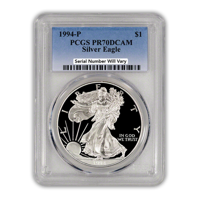1994 Silver Eagle - Proof - PCGS PR70 - CoinsTV