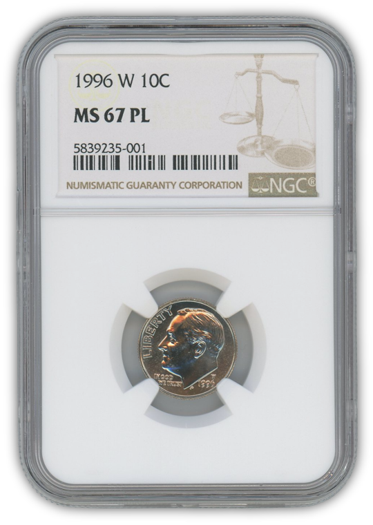 1996 Roosevelt Dime West Point - NGC MS67 PL Prooflike
