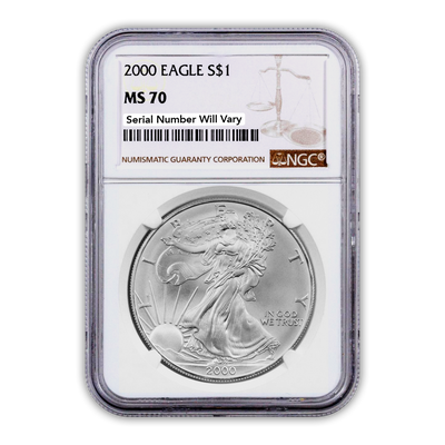 2000 Silver Eagle - Business Strike - NGC MS70 - CoinsTV
