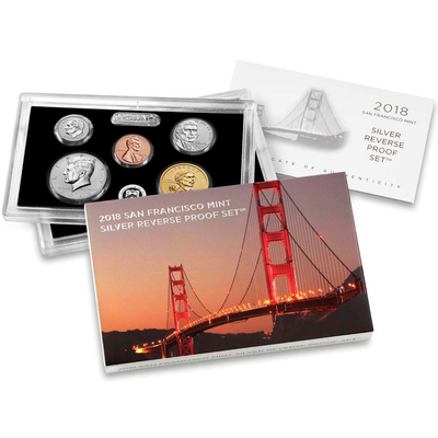 2018 US Silver Reverse Proof Set 10 pc - NGC PF70 Early Release ER Trolley Label