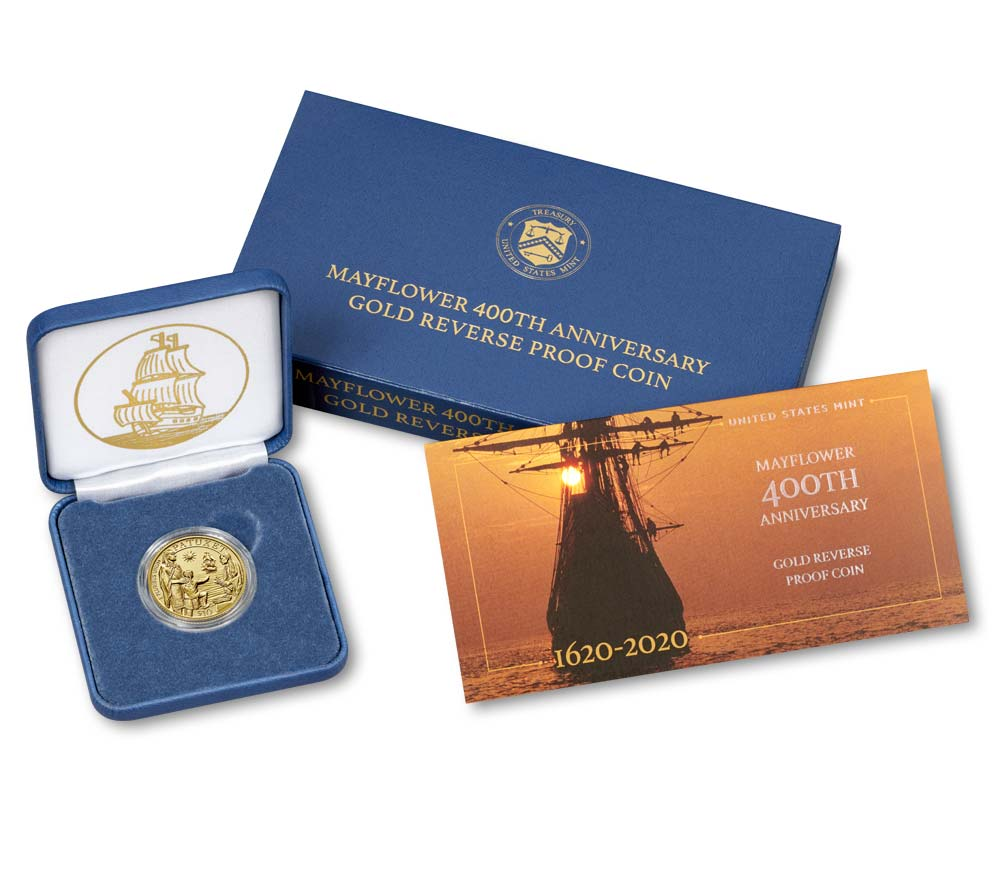 2020 Mayflower 400th Anniversary Gold Reverse Proof Coin - Original Government Packaging (OGP)