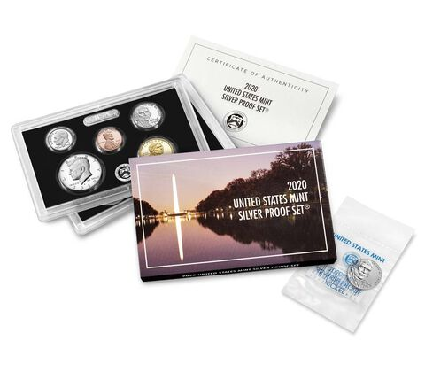 2020 Silver Proof 10 Coin Set + Bonus 2020 Jefferson Nickel West Point Reverse Proof