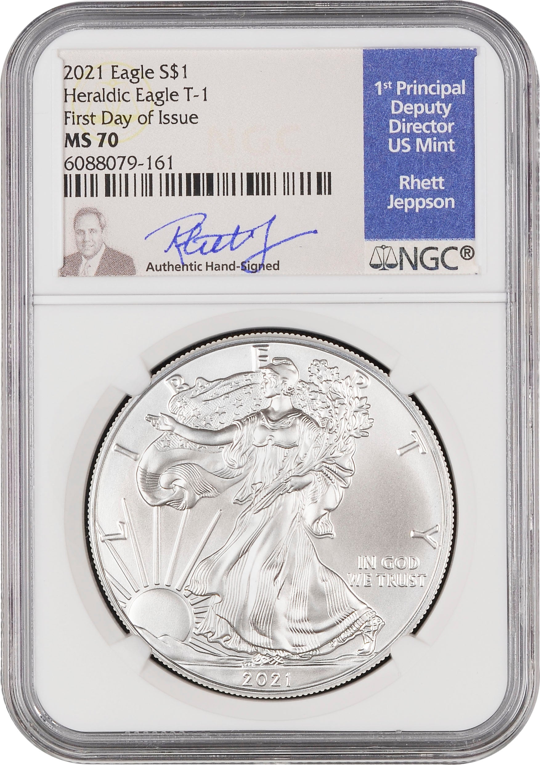 2021 Silver Eagle - Business Strike - Type 1 - NGC MS70 FDOI First Day of Issue Jepson Signature Label
