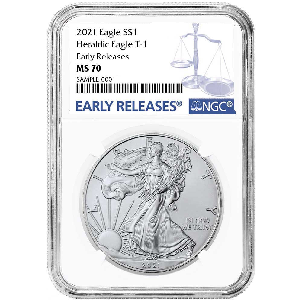 2021 Silver Eagle - Business Strike - Type 1 - NGC MS70 ER Early Release Blue Label
