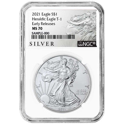 2021 Silver Eagle - Business Strike - Type 1 - NGC MS70 ER Early Release Walking Liberty Label