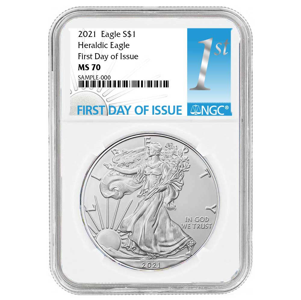 2021 Silver Eagle - Business Strike - Type 1 - NGC MS70 FDOI First Day of Issue Blue Label