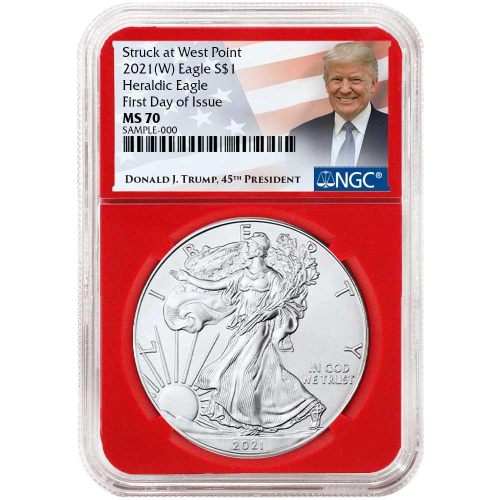 2021 Silver Eagle - Business Strike - Type 1 - NGC MS70 FDOI First Day of Issue Trump Label Red Core