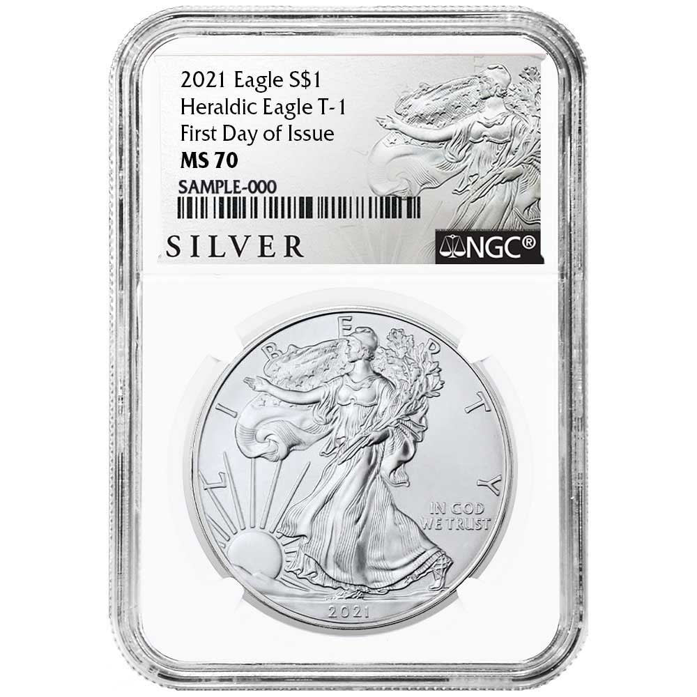 2021 Silver Eagle - Business Strike - Type 1 - NGC MS70 FDOI First Day of Issue Walking Liberty Label