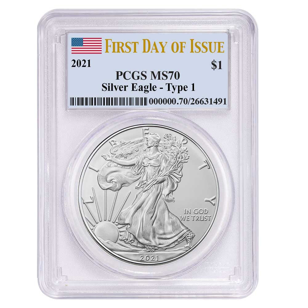 2021 Silver Eagle - Business Strike - Type 1 - PCGS MS70 FDOI First Day of Issue Flag Label