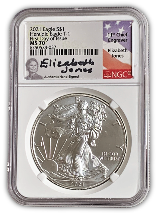 2021 Silver Eagle - Business Strike - Type 1 - NGC MS70 FDOI First Day of Issue E Jones Signature Label