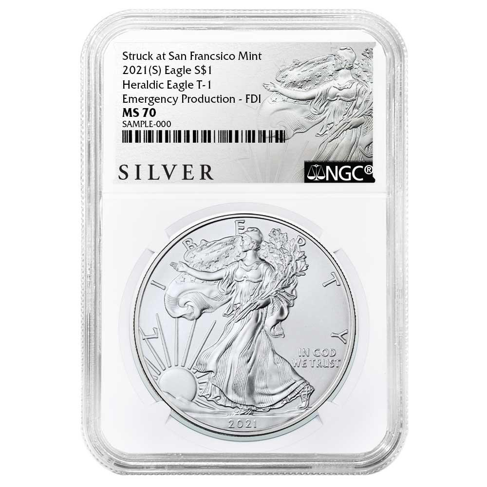 2021 (S) Silver Eagle - Business Strike - Type 1 Emergency Production - NGC MS70 FDOI First Day of Issue Walking Liberty Label