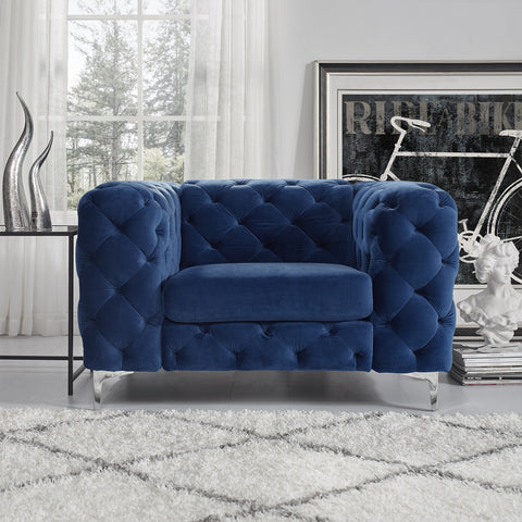 Vintage Blue Chesterfield Sofa - 1 Seater - FurnLane - Bespoke Luxury