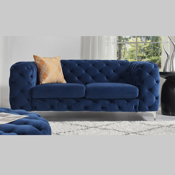 Vintage Blue Chesterfield Sofa - 2 Seater