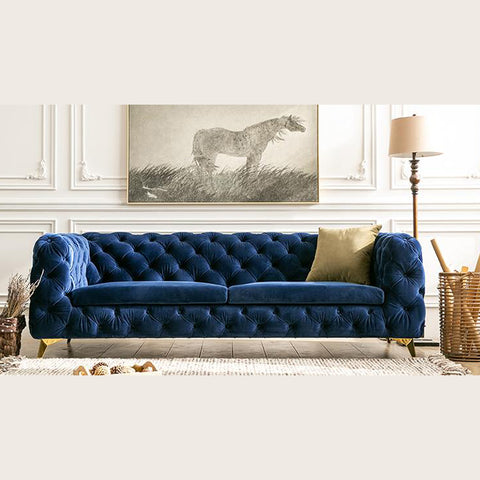 Vintage Blue Chesterfield Sofa - 3 Seater - FurnLane - Bespoke Luxury