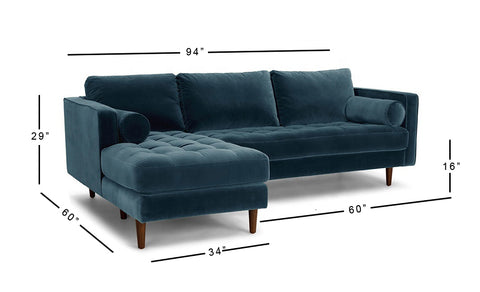 Daniel Left Aligned Sectional Sofa - 3 Seater - FurnLane - Bespoke Luxury