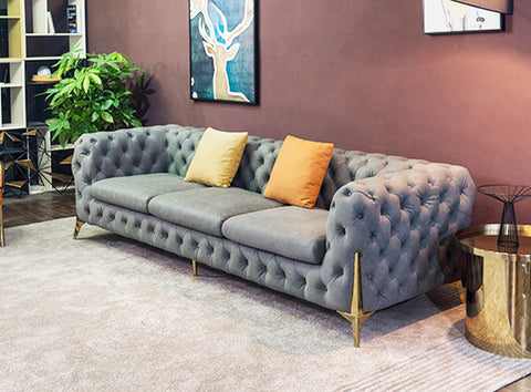 Vintage Charcoal Grey Chesterfield Sofa - 3 Seater - FurnLane - Bespoke Luxury