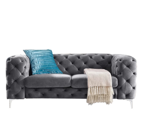 Vintage Charcoal Grey Chesterfield Sofa - 2 Seater - FurnLane - Bespoke Luxury