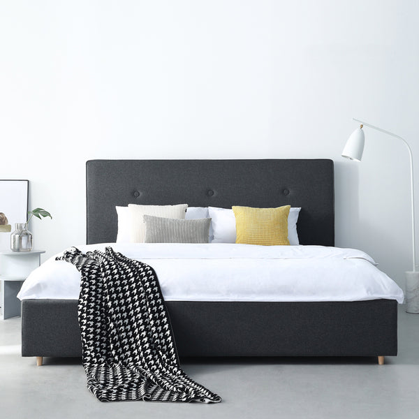 Premio Black Upholstered Bed - Solid Plywood