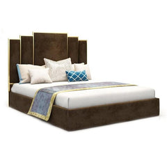 Goldi Premium Upholstered Bed Brown - Solid Plywood - FurnLane - Bespoke Luxury