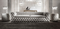 Vintage Chesterfield Sofa - 4 Seater with 2 Side Stand - FurnLane - Bespoke Luxury