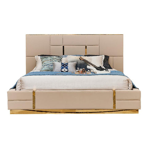 Goldi Premium Designer Upholstered Bed - Solid Plywood - FurnLane - Bespoke Luxury