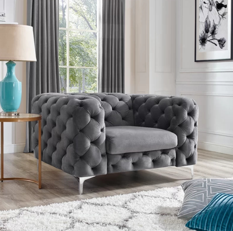 Vintage Charcoal Grey Chesterfield Sofa - 3+2+1 Seater - FurnLane - Bespoke Luxury