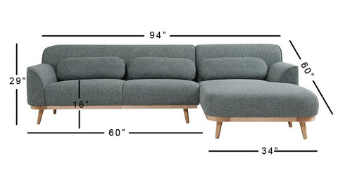 Jacob Right Aligned Sectional Sofa -3 Seater - FurnLane - Bespoke Luxury
