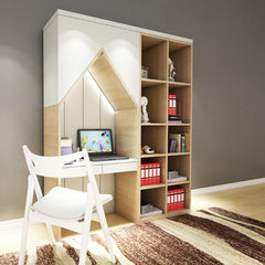 Christie Bookshelf with Study Table - Solid Plywood
