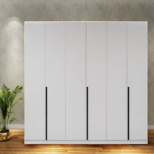 Solid Plywood 6 Door Santara Wardrobe with LIGHT - White