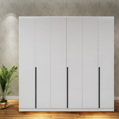 Solid Plywood 6 Door Santara Wardrobe with LIGHT - White - FurnLane - Bespoke Luxury