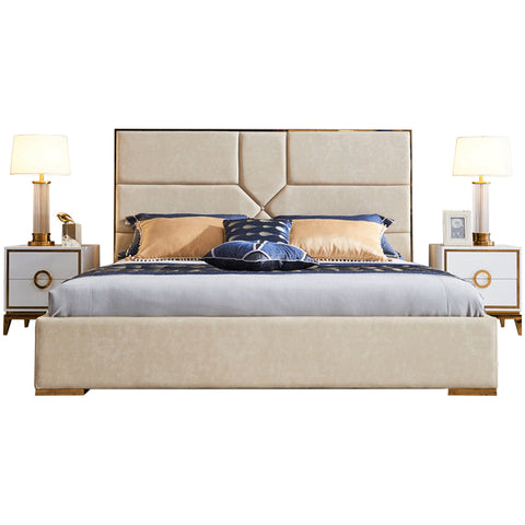 William Upholstered Bed Beige - Solid Plywood - FurnLane - Bespoke Luxury