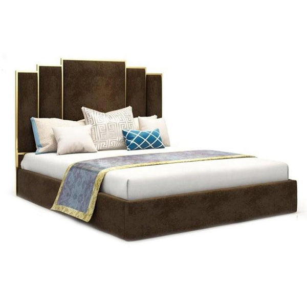 Goldi Premium Upholstered Bed Brown - Solid Plywood