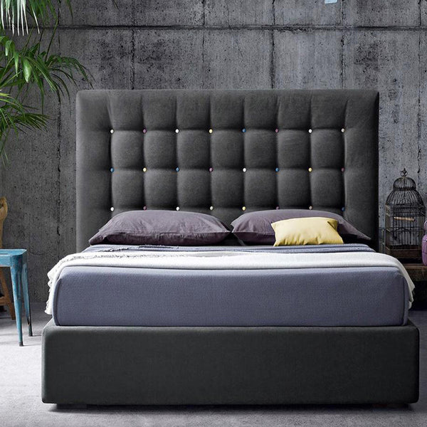 Premio Grey Upholstered Bed - Solid Plywood