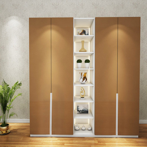 Solid Plywood 6 Door Santara Wardrobe with LIGHT - Bronze