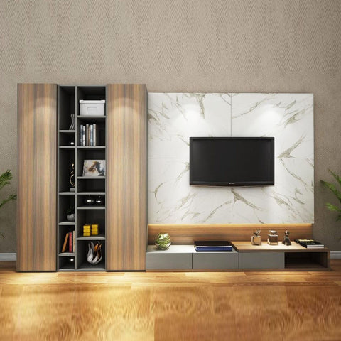 William Tv Unit with Bookshelf & LIGHT- Solid Plywood - FurnLane - Bespoke Luxury