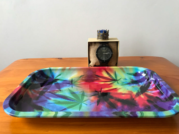 Psychedelic Weed Leaves Rolling Tray