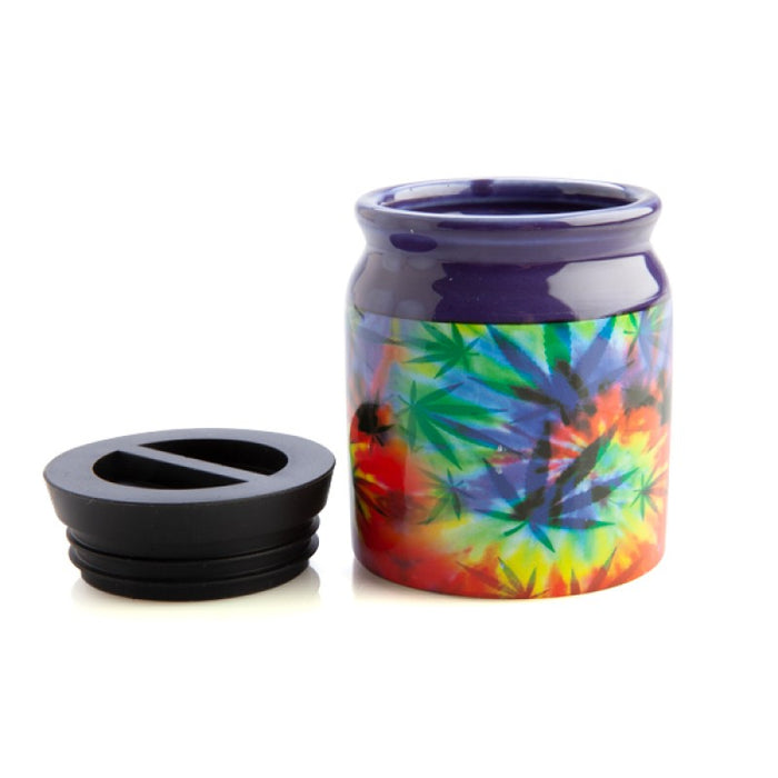 Psychedelic Weed Leaves Small Stash it Jar