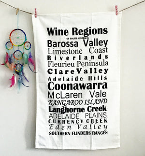 South Australia Wine Regions - Quirky Kitchen Tea Towels for wine lovers