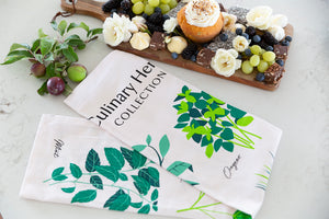 Culinary Herbs Tea Towel - Types of herbs with pictures