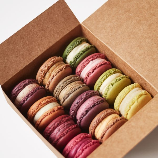 Box of macarons in seasonal flavours