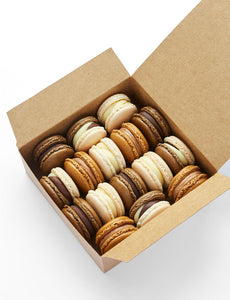 Mixed box of chocolate flavour macarons