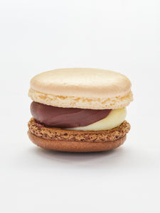White chocolate and cobnut praline macaron