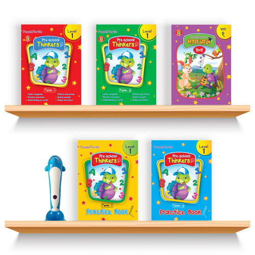 Purple Turtle Smart Preschool Talking Books with Talking Pen for Nursery Kids