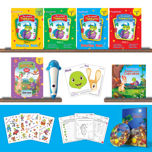 Purple Turtle Preschool Kit Level 1 with Talking Pen for Nursery Age 3-4 year