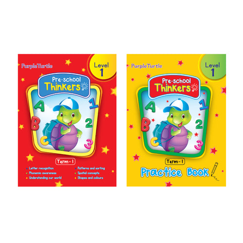 Purple Turtle Preschool books for Nursery kids Level 1 Term 1 (Course books + Practice book)