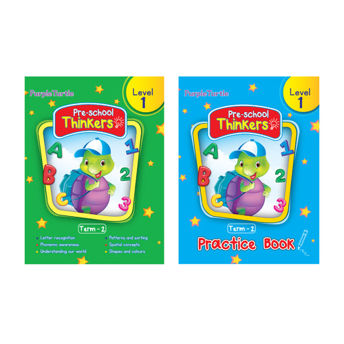 Purple Turtle Preschool books for Nursery kids Level 1 Term 2 (Course books) + Term 2 (Practice book)
