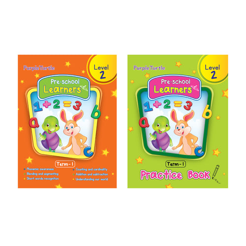 Purple Turtle Preschool books for LKG kids Level 2 Term 1 (Course books) + Term 1(Practice book) (2 Books)