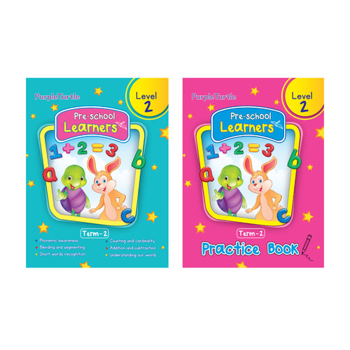 Purple Turtle Preschool books for LKG kids Level 2 Term 2 (Course books) + Term 2 (Practice book) (2 Books)
